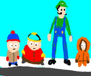 Stan, Cartman, Luigi and Kenny