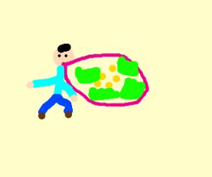 man blowing buble gum balloon full of money