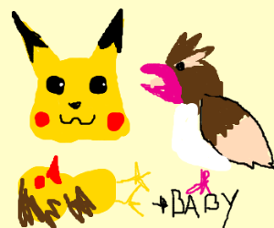 Pikachu and Pidgey had a yellow son