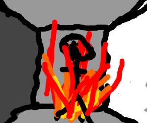 Man burning inside an empty closed room