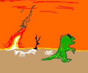 Angry T-Rex walks the earth alone