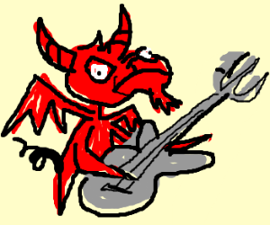 the devil as a goat playing the guitar
