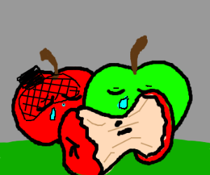 Apples mourn the death of their friend!
