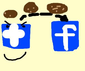 Twitter logo get poo cookies on facebook logo