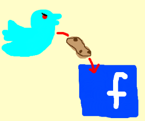 evil twitter throws potatoes at facebook