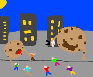 Flying cookies attack civilians