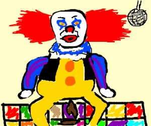 clown defecating on the dance floor of a disco
