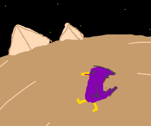 Purple evil bird walkin desert toward pyramids