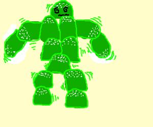 Dizzy green gumdrop man