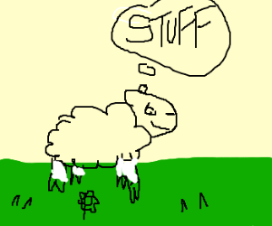 A sheep crazy daydreaming