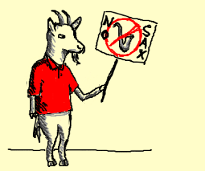 Goat-man in red polos wants to ban saxophones