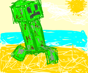 Green Minecraft Creeper goes to the beach