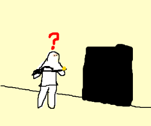?-Man enters dark room with confidence