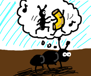 Ant dreams of dancing with macaroni