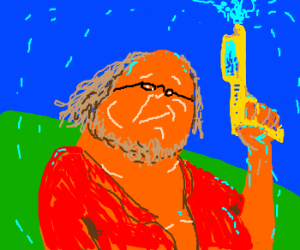 harry knowles with a squirt gun