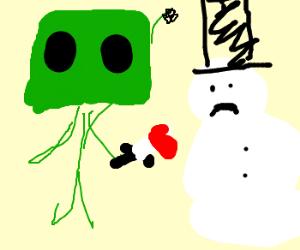 Boba Fett stabs a snowman