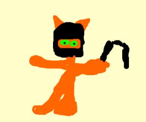 A cat ninja with green eyes nunchucks