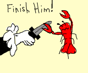 Man fights lobster to the death D:<