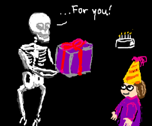 birthday skeleton awards present
