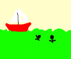 A boat in green water, ran over 2 people