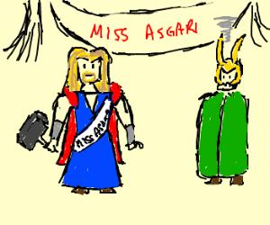 Thor named Miss Asgard . Loki fuming.