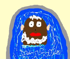 Mr. Potato Head takes a bubble bath