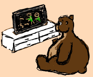 Obese bear watches zombie flick with worms