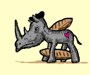 My Little Rhinoceros,with baguette on back