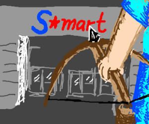 Guy with cross bow approaches s-mart entrance