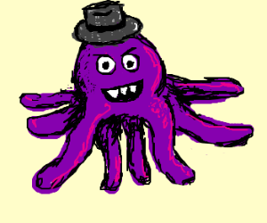 A Purple Octopus in trilby grins sharp teeth