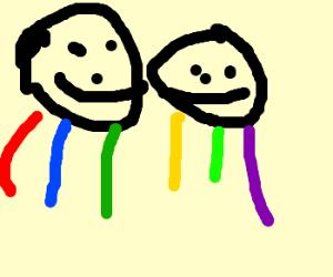 3 men covered by a rainbow.