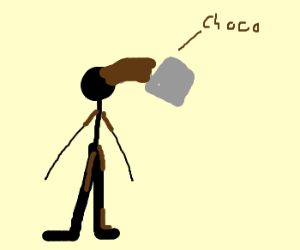 Pouring chocolate on friend from bucket