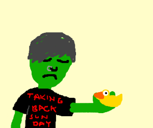 sad green emo holding a rubber ducky