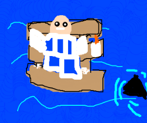 Gingerbread man on raft at sea chased by shark