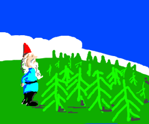 Gnome is pretty big to forest, in perspective