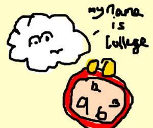 Cloud named College and an alarm with hands