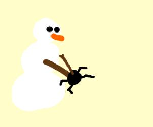 snowman killing a four legged spider