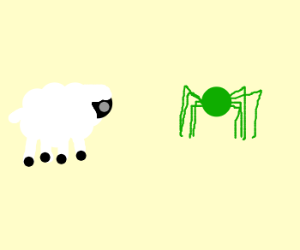 Sheep against green spider