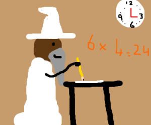 Black gandalf sitting an exam