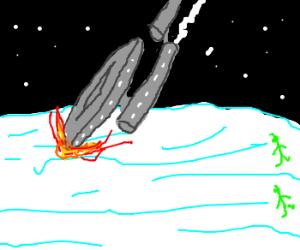 The USS Enterprise crashes on Hoth.