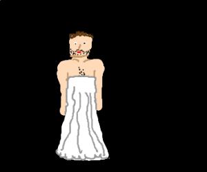 man in a white dress