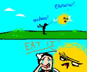Man sneezes on sun, then eats hand.