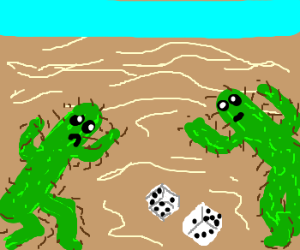 cacti playing dice in the desert