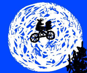 Alf and E.T. reenact famous flying bike scene
