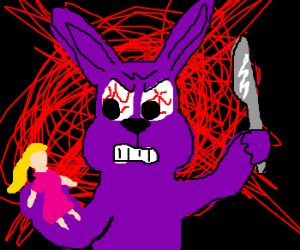 purple bunny stabs Barbie doll in fits of rage