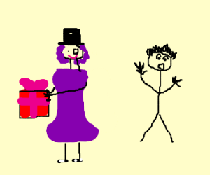 Gentlemanly purple woman wants a surprised man