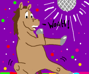 Horse frightened by his own dance moves