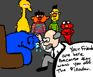 Cookie Monster's friends stage intervention