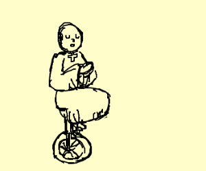 Priest on a unicycle