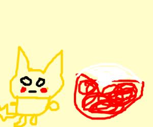 Happy Pikachu sits next to large Poke Ball